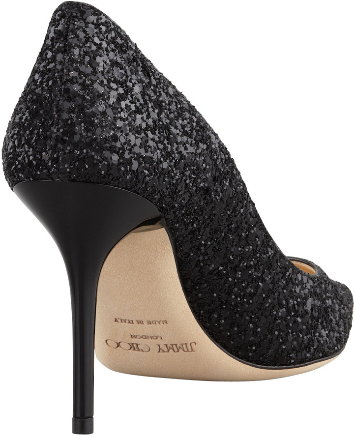 Jimmy Choo Agnes Glitter Pointed-Toe Pump, Black