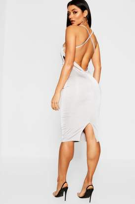 boohoo Double Slinky Low Strappy Back Midi Dress