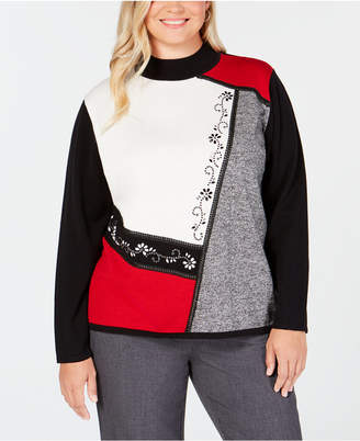Alfred Dunner Plus Size Sutton Place Embellished Colorblocked Sweater