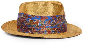 Etro Silk-Trimmed Straw Trilby Hat