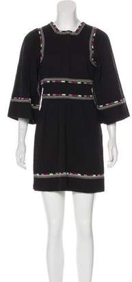 Isabel Marant Embroidered Bell Sleeve Dress
