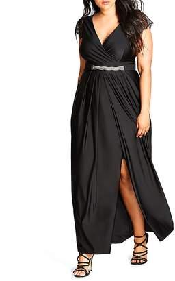 City Chic Flirty Drape Maxi Dress