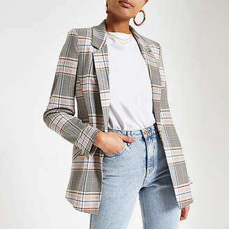 River Island Pink check open front blazer