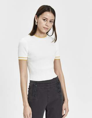 Stelen Evie Ribbed Knit Top in White/Yellow