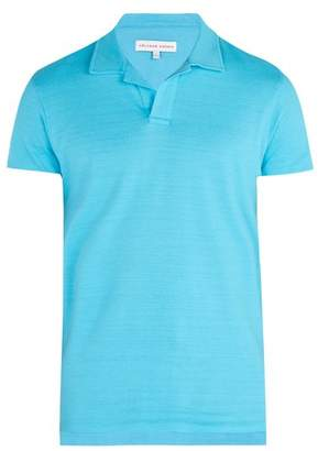 Orlebar Brown Felix Cotton Polo Shirt - Mens - Light Blue