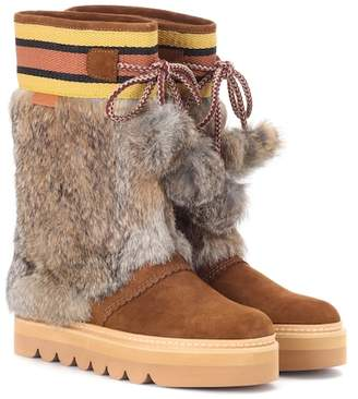 Fur-trimmed suede boots