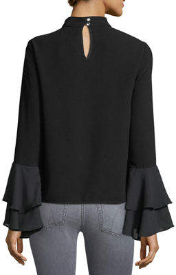 Neiman Marcus P. Luca High-Neck Bell-Sleeve Blouse
