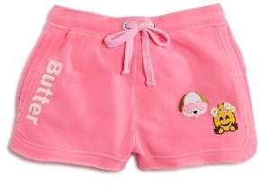 Butter Shoes Girls' Fleece Shorts with Dog & Emoji Patches - Little Kid