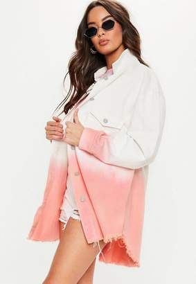 Missguided Pink Ombre Oversized Denim Shirt