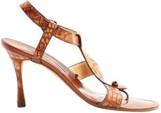 Manolo Blahnik Brown Leather Sandals