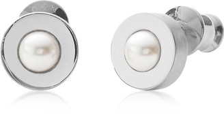 Skagen Round Stainless Steel Agnethe Women's Earrings w/Glass Pearls