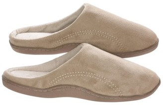 BEIGE Deluxe Comfort Men's Indoor/Outdoor Slip-On Microsuede Memory Foam House Slippers, Size 11-12 Double-Side Stitched Microsuede Exterior Comfy Plush Micro Fleece Lining Durable Non-Marking Rubber Sole,