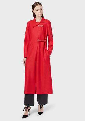 Giorgio Armani Virgin Wool Maxi Coat With Matching Leather Details