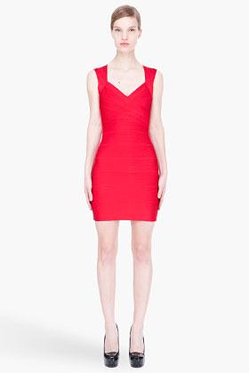 Herve Leger Red Essential Cut-Out Back Bandage Mini Dress