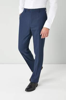 Next Mens Bright Blue Regular Fit Textured Wool Blend Trousers