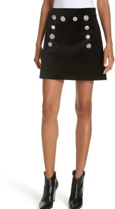 Veronica Beard Ording Crystal Button Velvet Miniskirt
