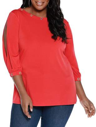 Belldini Plus Split-Sleeve Grommet Top