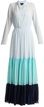 Saloni Alexia Dobby Dot Tiered Chiffon Dress - Womens - Blue Multi
