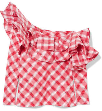 Johanna Ortiz Mangas Coloradas One-shoulder Ruffled Checked Cotton Top - Red