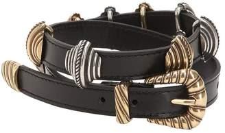 Etro Leather Belt W/ Sliding Metal Details