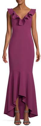 LIKELY Rowen Ruffle V-Neck Sleeveless Gown