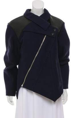 Proenza Schouler Leather-Accented Zip-Up Jacket