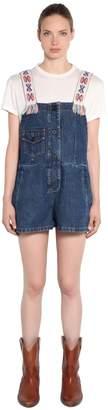 Embroidered Strap Cotton Denim Jumpsuit