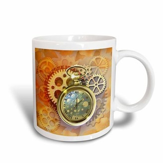 3dRose A Steampunk theme with metal cogs, gears and a lovely golden pocket watch. - Ceramic Mug, 15-ounce