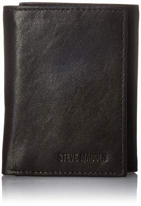 Steve Madden Men's Leather Trifold Wallet with ID Window