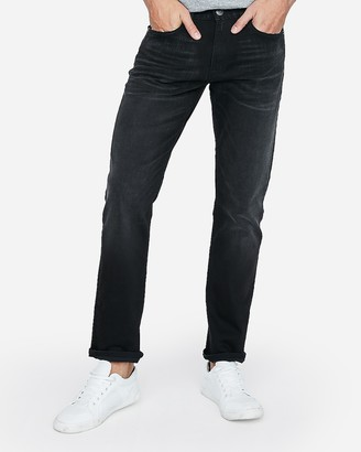 Express Slim Straight Black Stretch Jeans