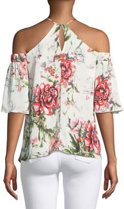 Dex Halter-Neck Cold-Shoulder Floral Blouse