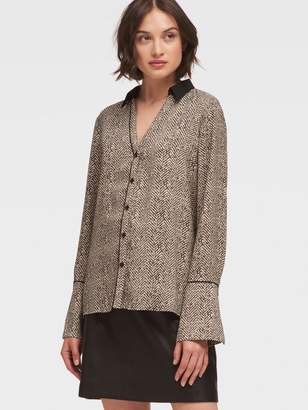 DKNY Button-Up Shirt With Trumpet Sleeve
