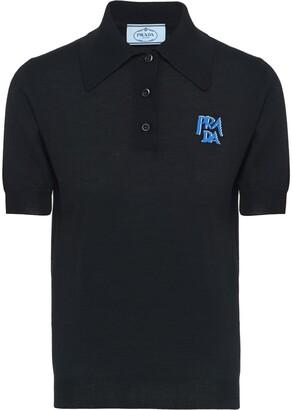 Prada logo print polo shirt