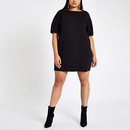 Womens Plus Black ponte swing dress