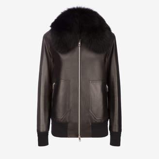 Bally Lamb Nappa Jacket With Fur Collar Black, Women's lamb nappa leather jacket in black