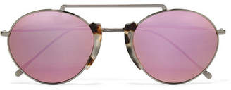 Illesteva Varese Round-frame Tortoiseshell Acetate And Gunmetal-tone Sunglasses - Gold