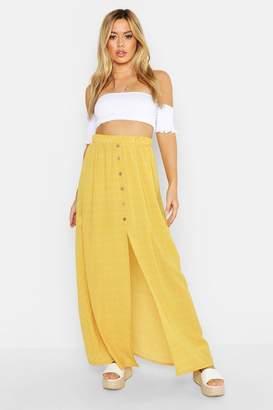 boohoo Petite Button Front Spot Maxi Skirt