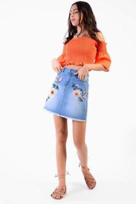 Glamorous **Embroidered Denim Skirt