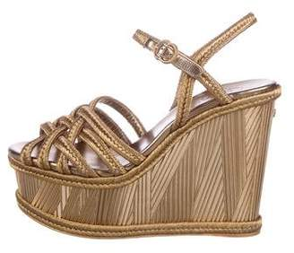 Chanel CC Metallic Woven Platform Wedge Sandals