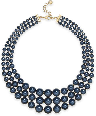 """Charter Club Gold-Tone Graduated Imitation Pearl Triple-Row Statement Necklace, 18"""" + 2"""" extender, Created for Macy's"""