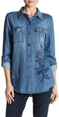 Nine West Carolina Embroidered Denim Military Jacket