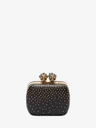 "Alexander McQueen Studded ""Queen and King"" Skeleton Box Clutch"