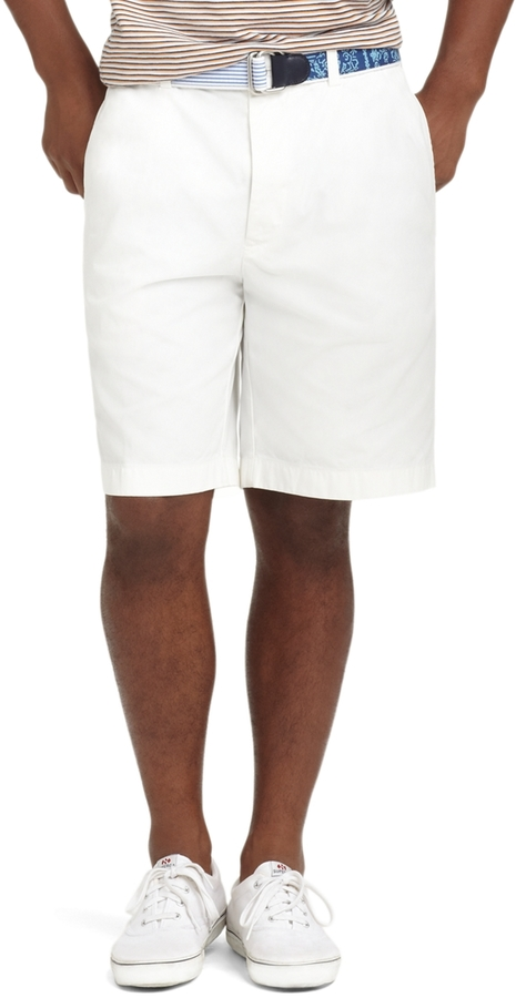 "Brooks Brothers Garment-Dyed Plain-Front 11"" Twill Bermuda Shorts"