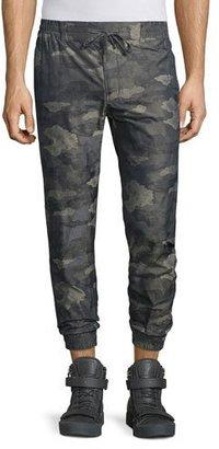 Helmut Lang Camo-Print Nylon Jogger Pants, Olive $380 thestylecure.com