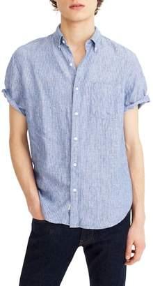 J.Crew J. CREW Stripe Short Sleeve Linen Shirt