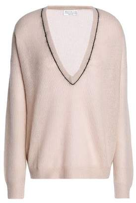 Brunello Cucinelli Bead-Embellished Ribbed- Knit Sweater