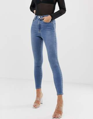 Asos Design DESIGN 'Sculpt me' high waisted premium jeans in light vintage wash blue