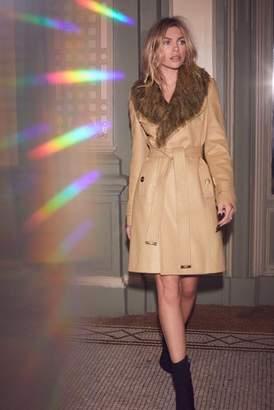 Next Lipsy Abbey Clancy x Faux Fur Collar Wrap Coat - 6