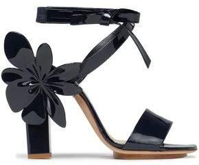 DELPOZO Floral-Appliquéd Patent-Leather Sandals