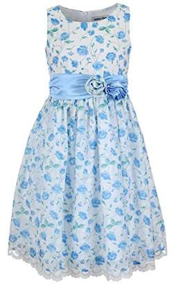Emma Riley Girls' Flower Dress Satin Sash Rosettes
